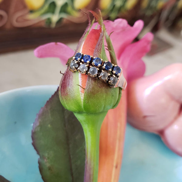 14k rose gold Victorian moonstone & blue sapphire 2 row band