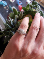 18k white gold Edwardian filigree diamond Engagement solitaire Ring