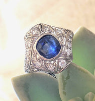 Platinum Art Deco c.20s filigree blue sapphire ring