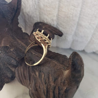 10k gold Smokey quartz marquise cocktail estate ring