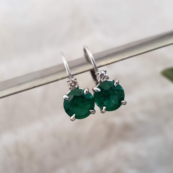 14k white gold Emerald & Diamond lever back Earrings
