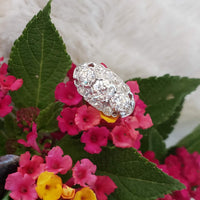 14k white gold old cut diamond three stone ring