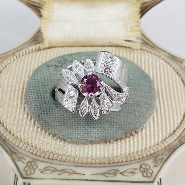 14k white Pink Sapphire & Diamond estate Retro Ring