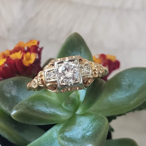 14k gold two tone diamond estate engagement ring