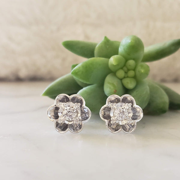 14k white gold vintage European cut diamond floral flower studs