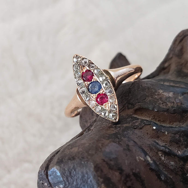 10k gold Victorian ruby blue sapphire & rose cut diamond navette ring - red white & blue