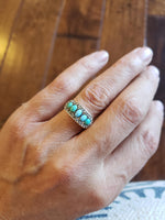 10k gold Victorian turquoise & rose cut diamond ring