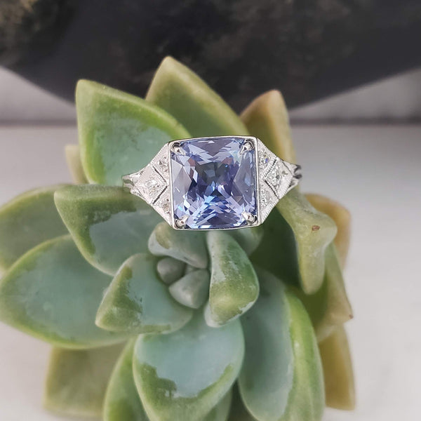 Platinum Deco 3.03ct light blue sapphire & diamond ring engagement
