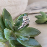 18k white gold c.20's filigree diamond Engagement  Ring