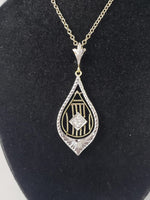 Platinum top & 14k gold c.1920's Deco engraved filigree diamond necklace pendant