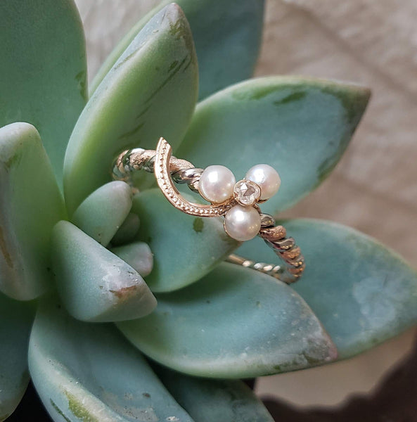 14k gold two tone rose cut diamond & pearl Edwardian CLOVER  ring