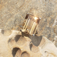 14k white gold emerald cut CITRINE cocktail ring