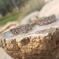 14k gold two tone vintage diamond wide Deco bridal set
