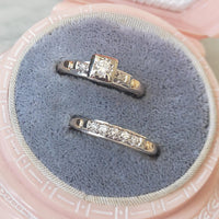 14k gold two tone vintage diamond c.40s c.50s bridal set
