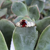 14k gold two tone Art Deco Garnet & diamond Ring