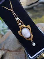 10k gold Victorian cameo lavaliere pendant necklace