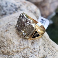 10k gold two tone vintage diamond double headed eagle Masonic Freemason Ring