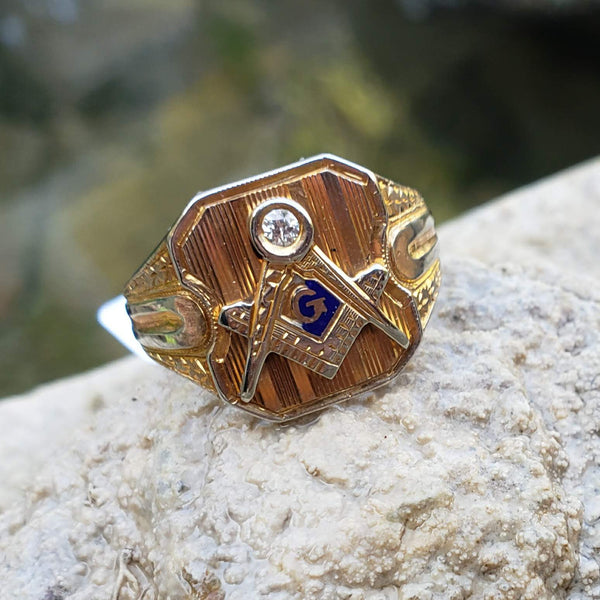 14k gold two tone vintage Deco diamond Masonic Freemason Ring