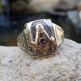 10k gold two tone vintage Deco Masonic Freemason Ring