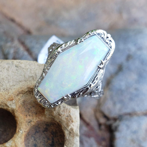 14k white gold filigree c.20s opal ring