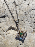 platinum top & 14k gold Deco c.1900 emerald & diamond necklace pendant