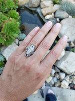 Platinum Diamond & Sapphire estate Art Deco c.20's filigree glove shield Ring