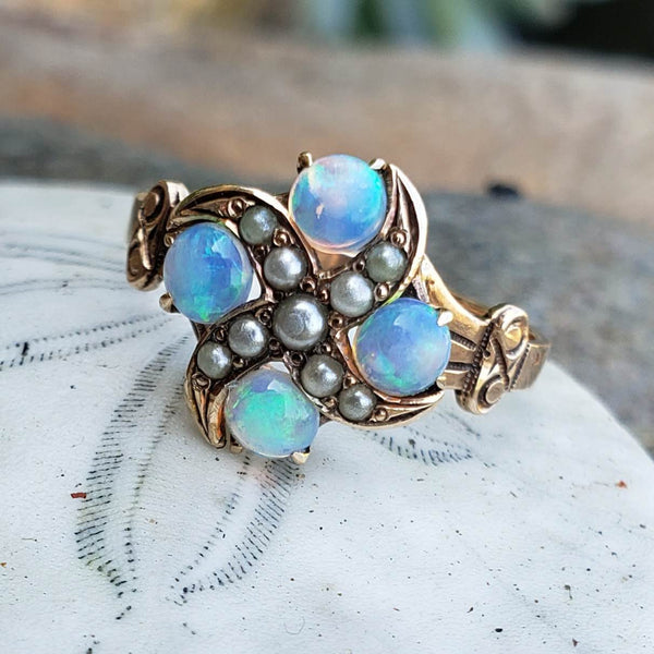 10k gold Victorian opal & seed pearl ring