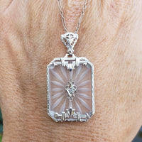 14k white gold Deco c.20's etched quartz crystal diamond pendant necklace