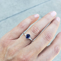 14k white gold pear shape blue sapphire & diamond baguette estate engagement ring