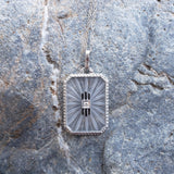 14k white gold Deco c.20's etched quartz crystal diamond enamel pendant necklace