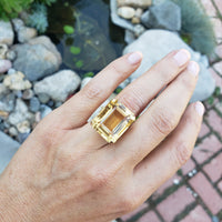 14k yellow gold emerald cut CITRINE estate cocktail ring