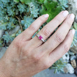 Palladium pink Tourmaline & Diamond estate Ring