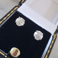 14k white gold old European cut diamond Fleur De Lis studs earrings .89ct tw