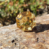 14k yellow gold hexagon CITRINE estate cocktail ring