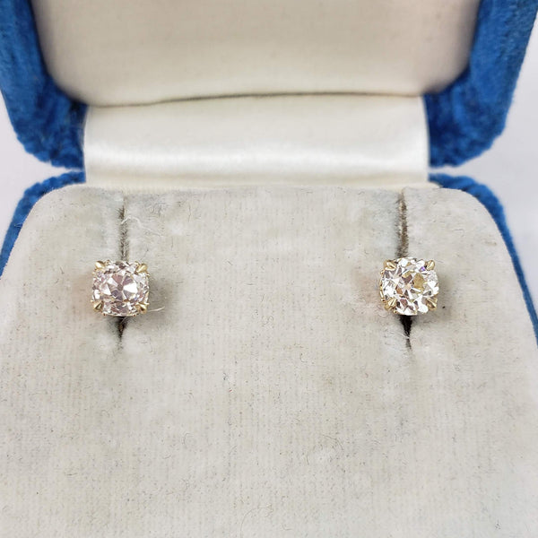 14k yellow gold old mine cut diamond scroll studs earrings - 1.35ct tw