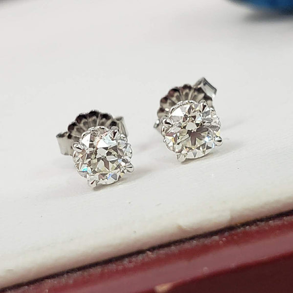 14k white gold old European cut diamond fleur de lis studs earrings - .91ct tw