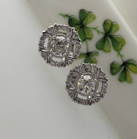 14k gold white gold old European cut diamond Deco style halo studs - .50ct tw