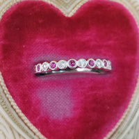 14k white gold diamond & ruby stackable wedding band