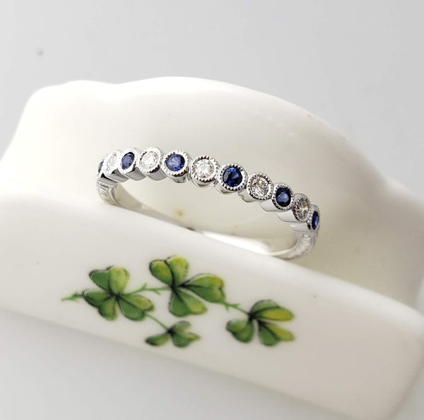 14k white gold diamond & blue sapphire stackable wedding band