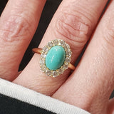 18k yellow gold Victorian turquoise & mine cut diamond halo ring