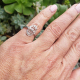 Platinum Diamond estate Art Deco c.20's filigree glove shield Ring