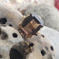 14k gold Smokey Quartz cocktail estate ring