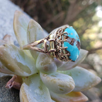 10k gold Victorian turquoise estate ring