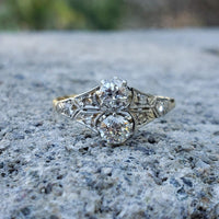 14k yellow gold & Platinum old cut Diamond Ring