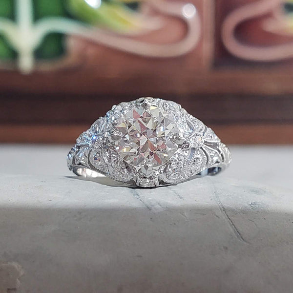 "Platinum Edwardian Filigree ""bow"" European cut diamond antique Ring"