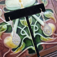 platinum & 18k yellow gold estate old cut diamond earrings