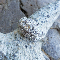 14k white c.30s - c.40s cluster 3 stone diamond ring