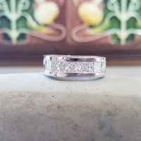 14k white gold princess cut diamond contemporary squared estate band