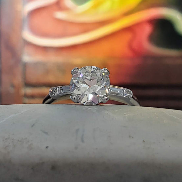 platinum European cut diamond estate engagement Ring