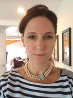 14k white gold mid century Honora double strand pearl necklace with detachable diamond clasp - pin